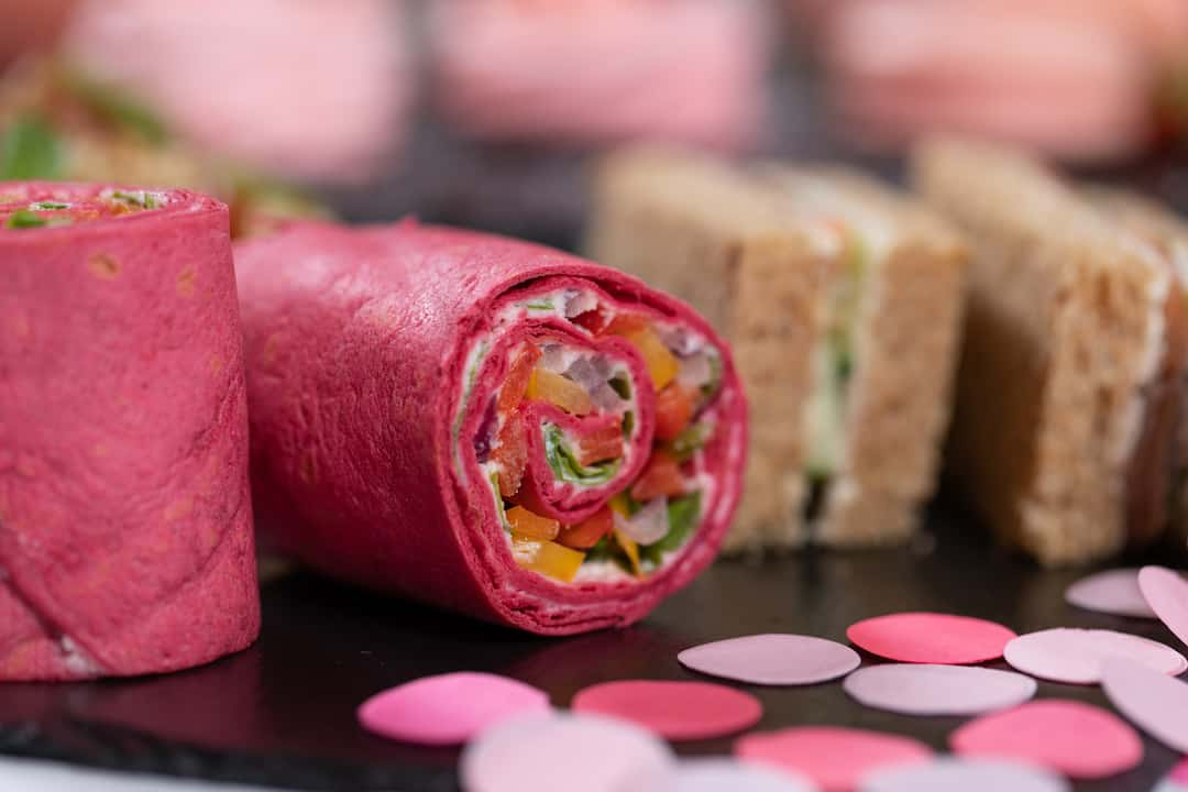 smoked salmon sandwich and Beetroot tortilla wrap display