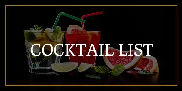 Cocktail list at Hamiltons Restaurant